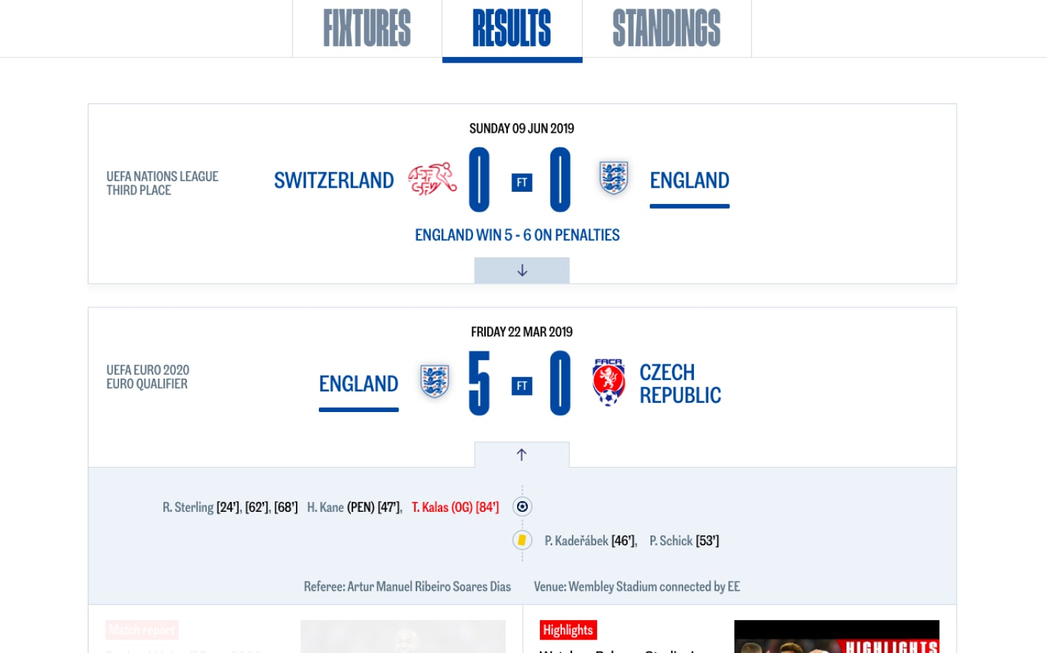 TheFa's results page